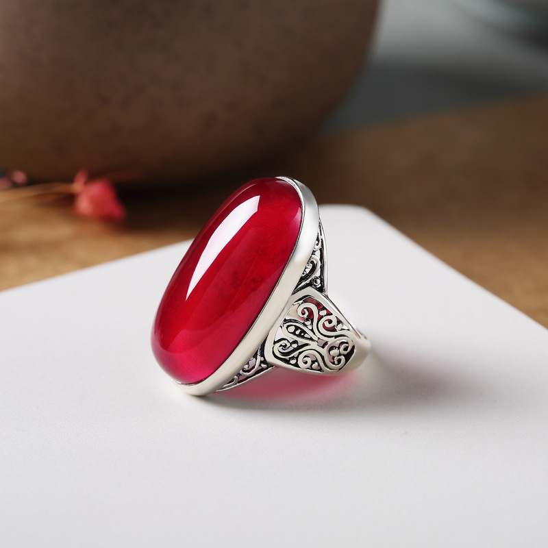 Genuine Solid Sterling Silver Ruby Ring 925 Initial Women Ring Large Natural Stone Beautiful Fine Jewelry Anillos