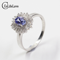 Vintage Engagement Wedding Ring For Woman Genuine Bule Tanzanite Ring Real 925 Solid Sterling Silver Jewelry