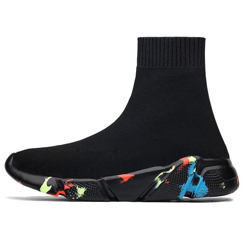 2019 Man NEW Hosiery Shoes Walking Slip On Socks Paris Female Comfortable Loafers Black Mesh Breathable Sneakers Big Size 35 47