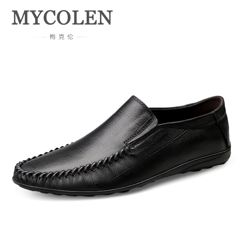 MYCOLEN Genuine Leather Shoes Men Leather Causal Loafers For Male Solid Slip-On Soft Moccasins High Quality Flats Mocassin Homme(China)