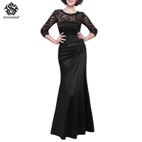 Elegant Party 3 4 Sleeve Women Wedding Lace Dress Bodycon Ruffles Midi Business Casual Long Dresses