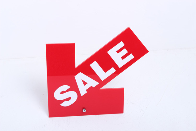 Red Signboard Acrylic Store Shop Promotion Advertising Signage Table Desk Sign Sale Letter Stand Plate Customized Shelf Talker