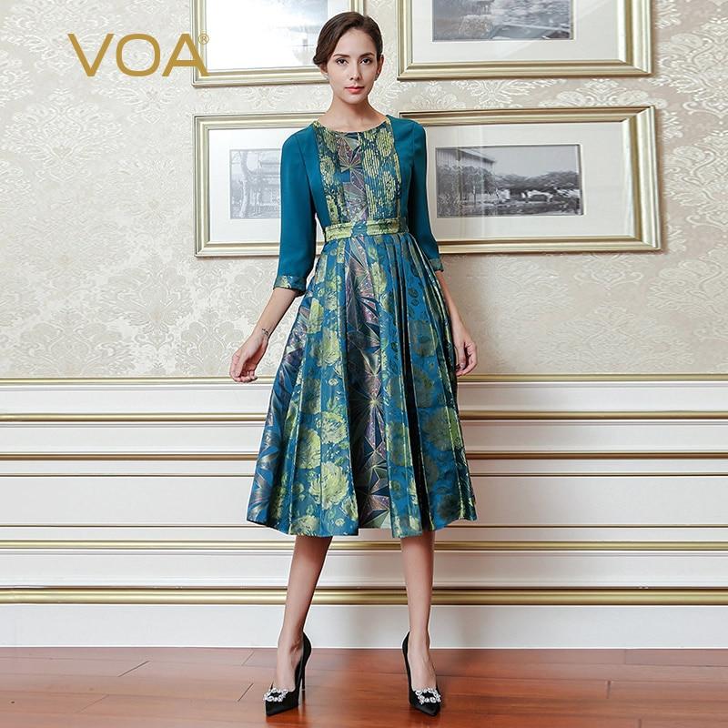 VOA Bleu Vintage Style Chinois En Soie Imprimée Robe Plus La Taille Taille Haute Tunique Mince Plissée Robes De Luxe Femmes Vêtements AJX01801