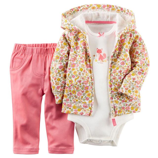 2017 Nuevos Bebés Floral Juegos de Ropa Recién Nacido Primavera Invierno 3 Unids Set Hoodies + Romper + Pantalones de Niño de La Manera ropa Trajes 15E