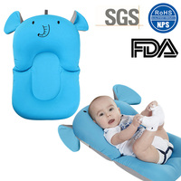 Cartoon Baby Safer Bath Mat Bathtub Infant Bath Pad Mesh Pocket Non Slip Newborn Bath Bed Floating Cushion Infant Bathtub Mat