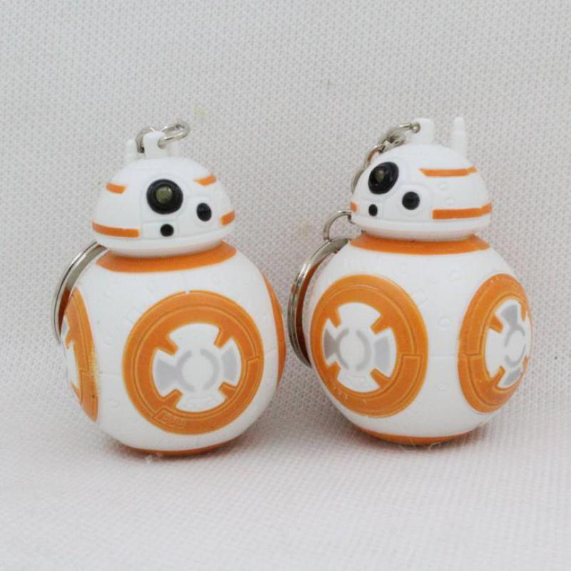 New Arrival Star Wars BB8 Robot Led Keychain With Sound 3D Action Figure Hot Toy Gifts