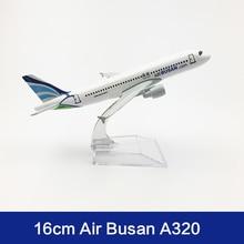 16cm Air Busan Airlines Airplane Model A320 Metal Diecast Aviation Model Korean Busan Airways Aircraft Model Scale Toys 1:400