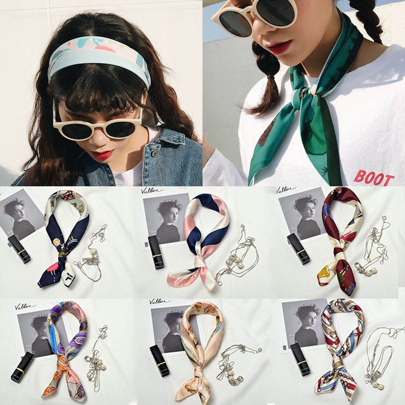 LNRRABC 50*50cm Spring Summer Striped   Scarf   Ring Multicolor Square Print Kerchief Woman Neck Shawl   Wraps   Echarpe Bandana