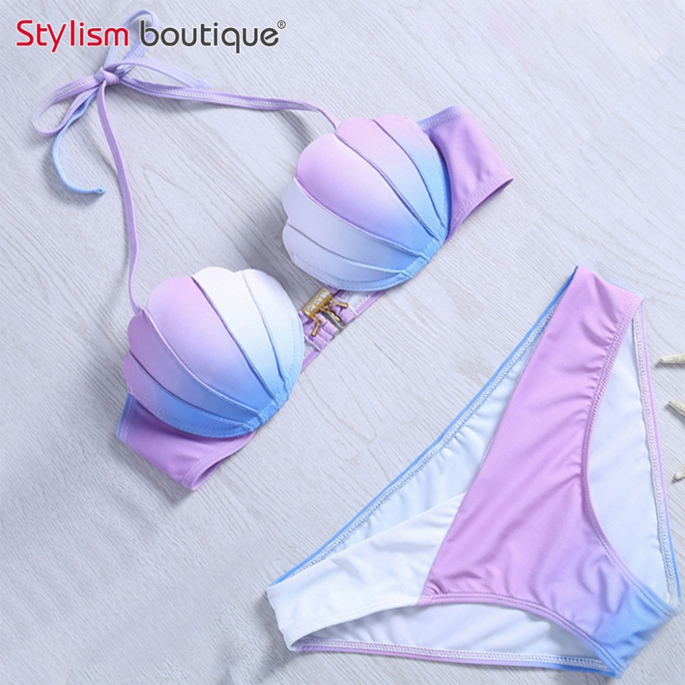Mermaid Shell Bra Push Up Två-Piece Baddräkt Gradient Color Beachwear Sexig Bikinis Set Baddräkt Biquini Maillot De Bain