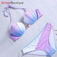Mermaid Shell Bra Design Two Piece Suit Swimwear Gradient Color Beachwear Sexy Bikinis Set Swimsuit Biquini