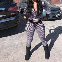 2017 New Spring Sexy 2 Piece Set Women Tracksuit Top Pants Stripped Sweatsuit Outfit V Neck