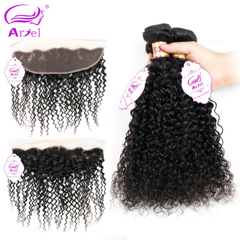 Ariel Kinky Curly Hair Peruvian Hair Bundles With Frontal Non remy 8 28 inch Natural Color