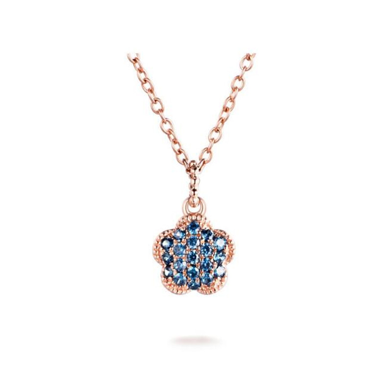New 18K Gold New Luxurious Fashion Necklace Pendant Micro Paved Shining Tiny CZ Crystal Flower Pendant Jewelry For Women Wedding brand new 20pcs 16 23mm blue crystal rhinestone paved gold tone metal alloy moon necklace pendants floating pendant earring diy