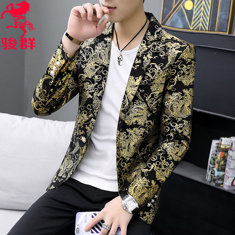 Spring 2020 Printed On The New Trend Of Cultivate One's Morality Suit Personality Man Bronzing Blazer Leisure And Fashion
