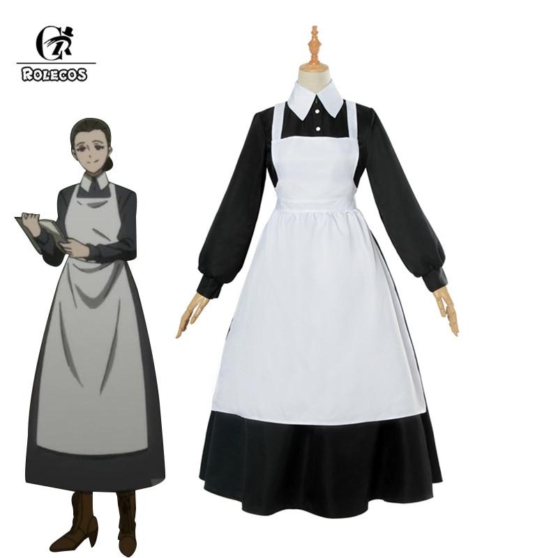 ROLECOS Yakusoku no Neverland Cosplay Costume The Promised Neverland Isabella Cosplay Women Maid Dress Anime Costume
