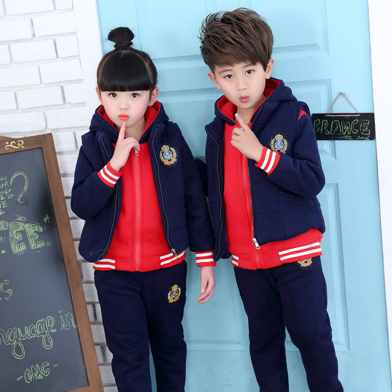 Children 's suits winter boys and girls plus cashmere sports uniforms children thickening school uniform three / piece suit