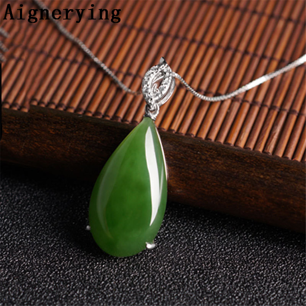 925 silver Certificate Necklace Para Vintage Pendant Natural Green Jade Zircon Inlaid Craft Cute For Woman Gift with Box figure925 silver Certificate Necklace Para Vintage Pendant Natural Green Jade Zircon Inlaid Craft Cute For Woman Gift with Box figure