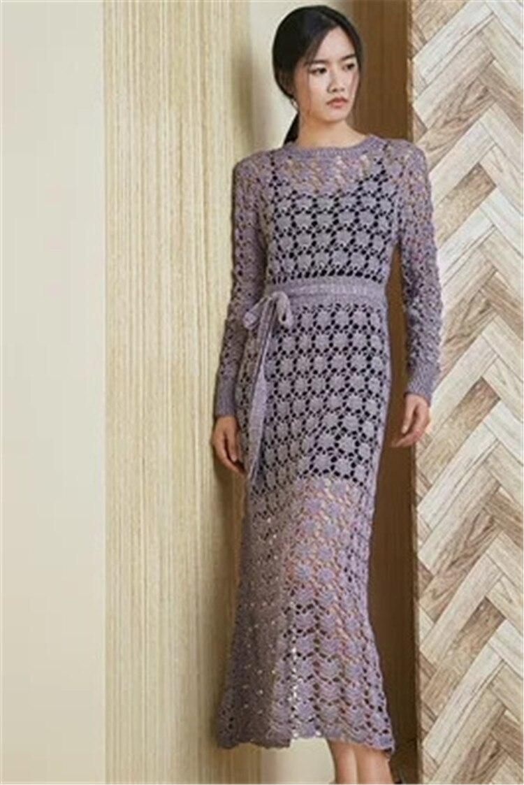 100% fait à la main lin lin polyester mélange crochet tricot femmes mode évider longue robe pull blanc 5 couleur personnaliser
