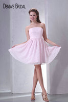 Actual Images Light Pink Strapless Mini Lace Prom Dresses Pleats A Line Short Party Gowns