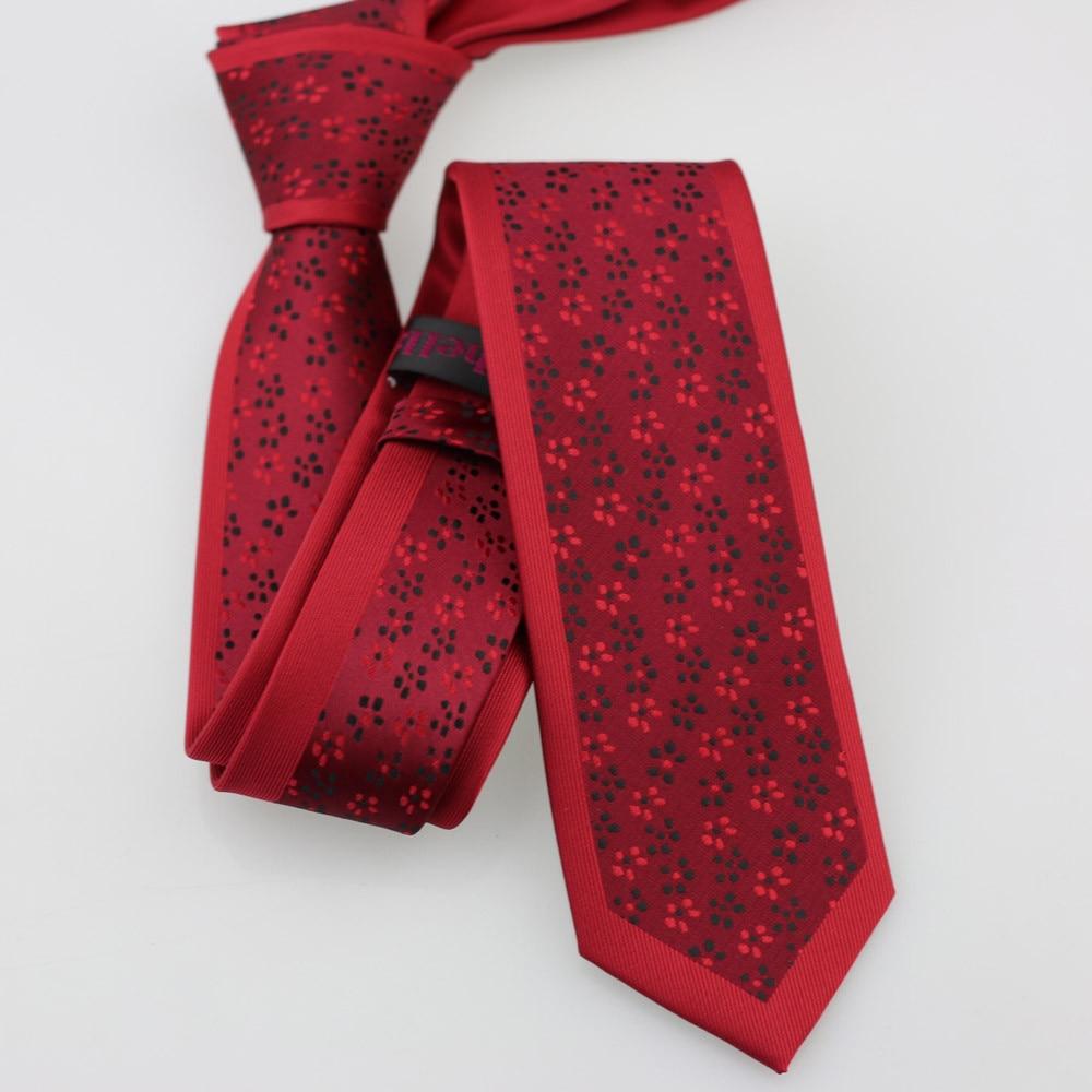 Yibei Coachella галстук красный Галстуки узкие граничит с красные, черные маленькие точки шеи Галстуки тонкий жаккард Тканые Gravata Седа подарки для для мужчин