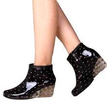 Новых Женщин Дождь Сапоги Водонепроницаемый Загрузки для Женщины Резиновая Обувь Женская Круглый Носок Молния Ботинки Женщин Туфли На Платформе