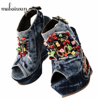 2017 Designer Summer Wedge Shoes Woman Embroidery Flowers High Heels Chunky Heel Peep Toe Fashion Denim