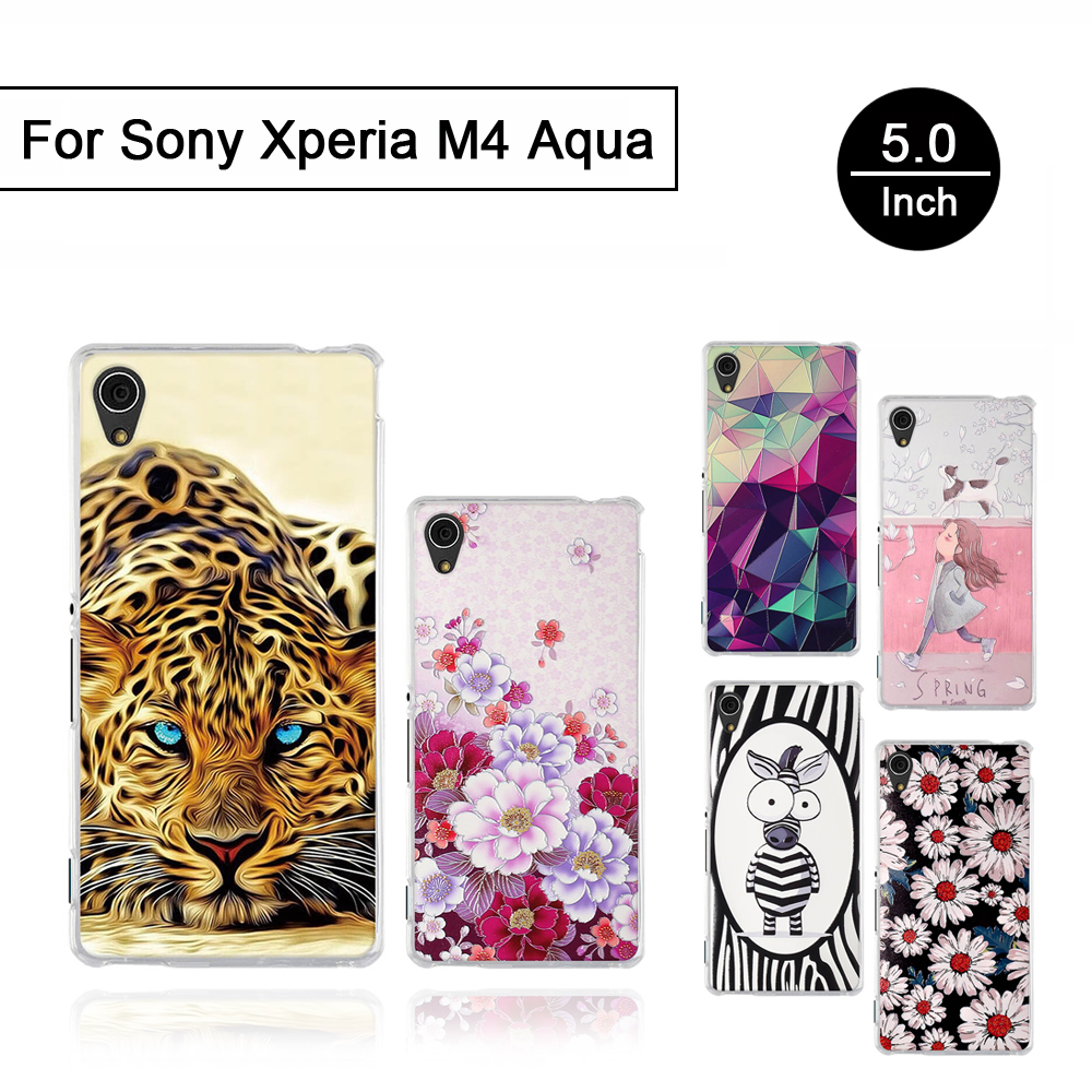 Soft Silicone Case For Sony Xperia M4 Aqua E2303 E2333 E2353 5.0 inch Print TPU Cover For Sony Xperia M4 Aqua Back Phone Shells