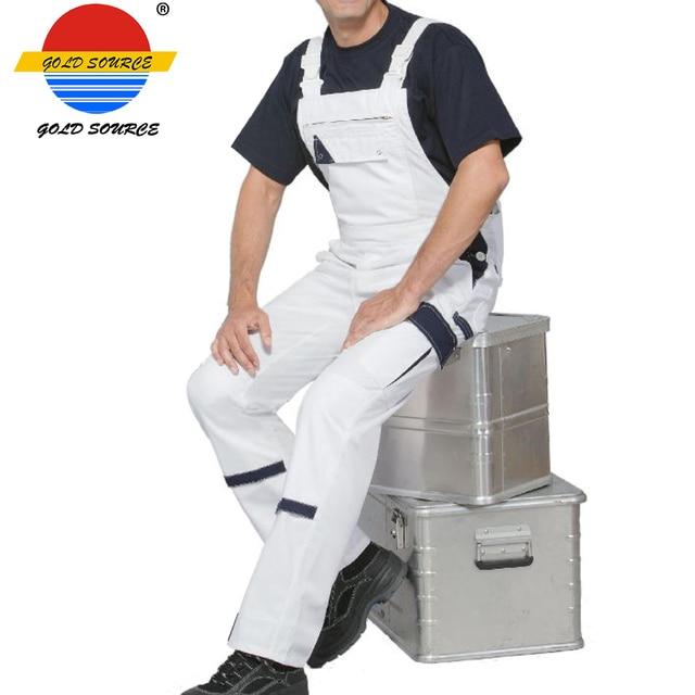 Hot Sale Fashion Work Brace Pants Khaki White Mens Workwear Bib Overalls 1