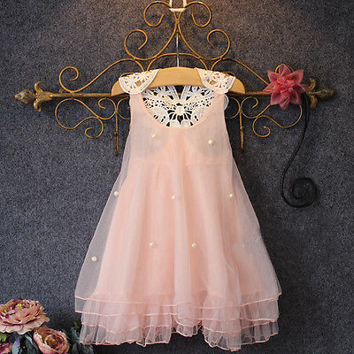 High Quality 2015 Baby Girls Princess Party Dress Sleeveless Pearl Lace Flower Casual Fancy Dress Sundress 2-7Y