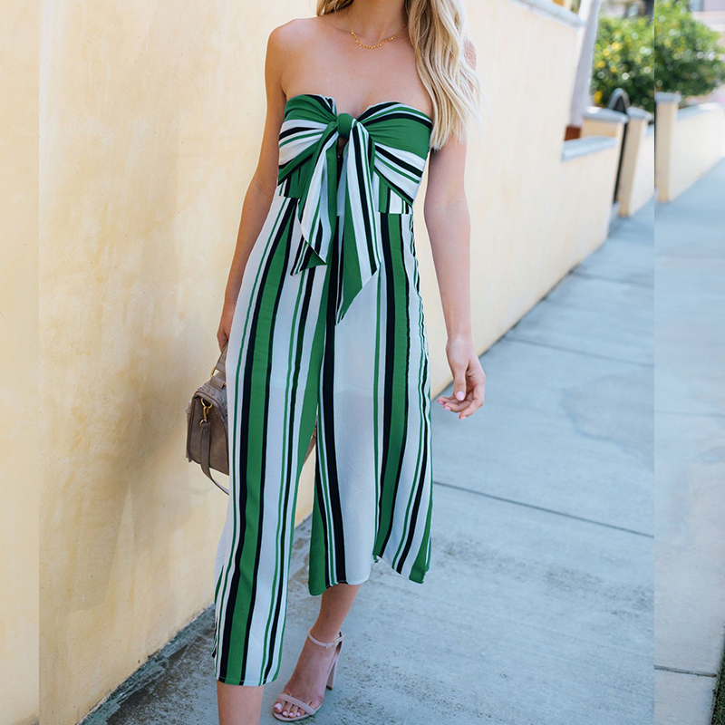 Sexy Strapless Bowknot Striped Jumpsuits Womens Casual Holiday Wide Leg Rompers Bohemian Loose Vestidos WS8353U