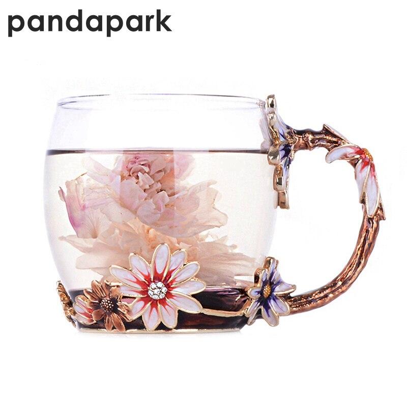 Pandapark Creative Vintage Émail Tasse En Verre Rose Fleur Poignée Style Avec Cuillère De Luxe Thé Tasse Tumbler Café Tasse Cadeau PPX023