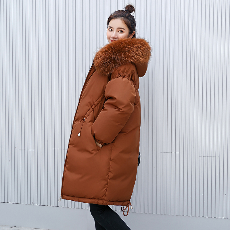 Femmes Slim Épais Fourrure Manteaux marron Long De army D'hiver Beige Dames Vestes dark 2019 Survêtement Parka Grand Green Manteau Et Red noir Col 7x8wOO