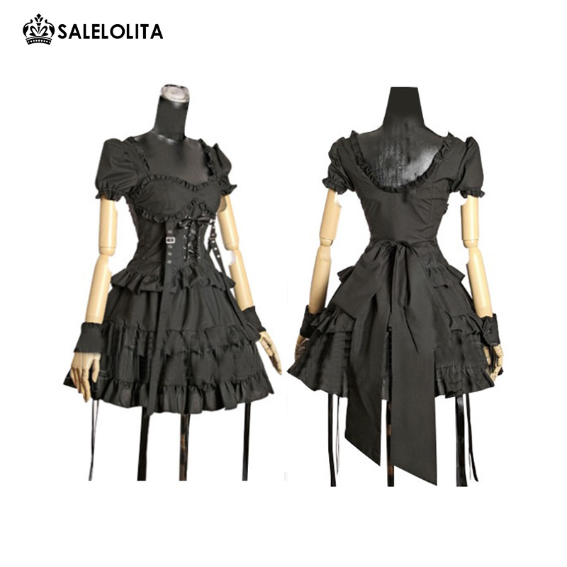 3a6fcc2384 Detail Feedback Questions about 2017 New Black Short Sleeved Retro Gothic  Steampunk High Waist Cake Lolita Dress on Aliexpress.com   alibaba group