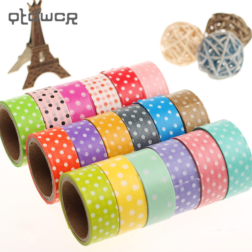 1PC DIY Cute Cartoon Paper Washi Tape Dots Sticky Paper For Scrapbook Home Decoration Korean Stationery Random Send Colors