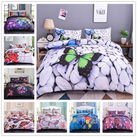 Boniu 3d Animal Flying Butterflies Duvet Cover Set 2/3pcs Colorful Butterfly Bedding Set Queen King Size Soft Bed Cover For Girl
