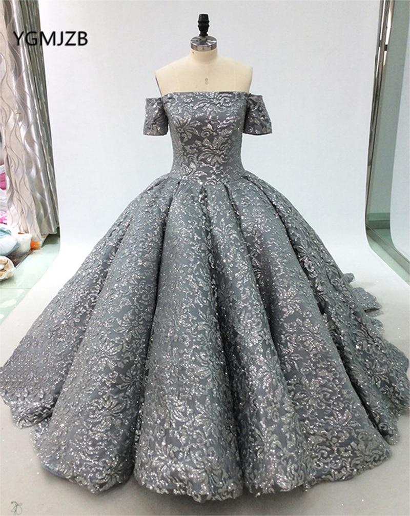 Luxury Glitter Wedding Dress Ball Gown 2019 Off Shoulder Sleeves Puffy Skirt Long Train Arabic Bridal Dress Vestidos De Noiva gown