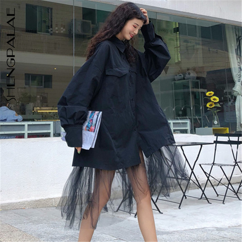 SHENGPALAE 2020 New Spring Fashion Black Turn-down Collar Long Sleeve Loose Casual Hem Patchwork Irregular Mesh Woman Shirt SC37