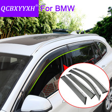 QCBXYYXH Car Styling Awnings Shelters 4pcs/lot Window Visors For BMW X1 X3 X5 X6 Sun Rain Shield Stickers Covers