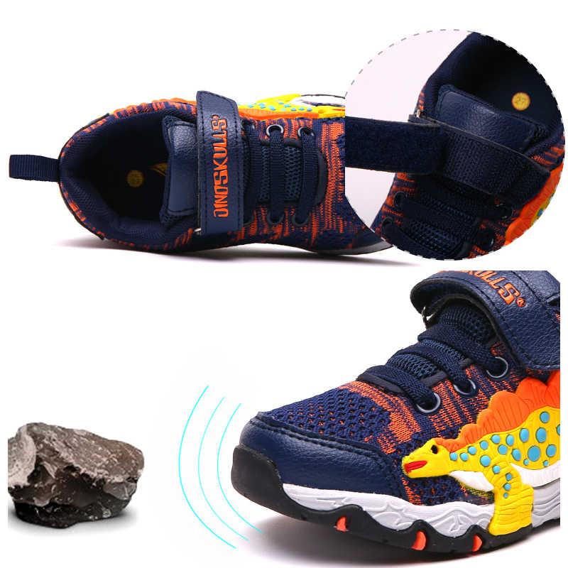 Dinoskulls Детские кроссовки детские светящиеся кроссовки дышащие Tenis светодиодные фонари мальчиков кроссовки 3D динозавров обувь 27- 34