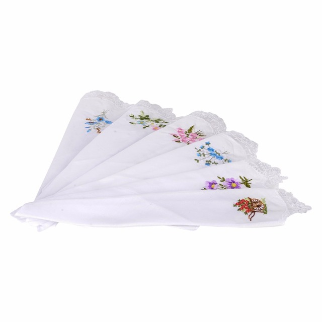 Mayitr 6pcs Vintage Women Ladies Embroidered Hankies Napkin Portable Butterfly Lace Flower Hankies Floral Cloth Handkerchief