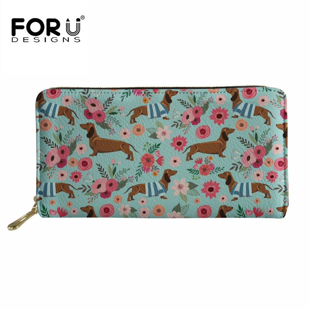 FORUDESIGNS Women Wallets Long Dachshund 3D Printing Leather Fashion Female Clutch Ladies Phone Purse Coin Credit Card Holder