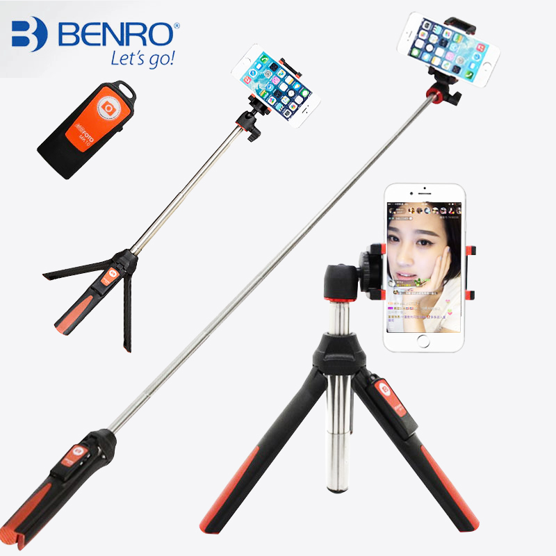 BENRO Handheld & mini Tripod 3 in 1 Self-portrait Monopod Phone Selfie Stick w Bluetooth Remote Shutter for iPhone Sumsang Gopro