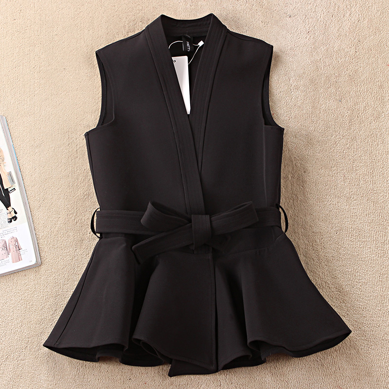 Nevettle Black Belted Vest Women Spring Casual Colete Femme