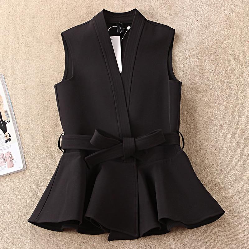 Nevettle Black Belted Vest Women Spring Casual Colete Femme