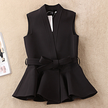 Nevettle Black Belted Vest Women Spring Casual Colete Femme клава 2019 11 30t19 00