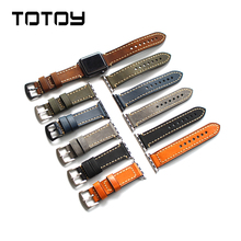 TOTOY Vintage Handmade Leather Watchbands, For IWATCH Strap 42MM 44MM  Generation Calf Leather Watchbands, Soft Men's Strap, цены