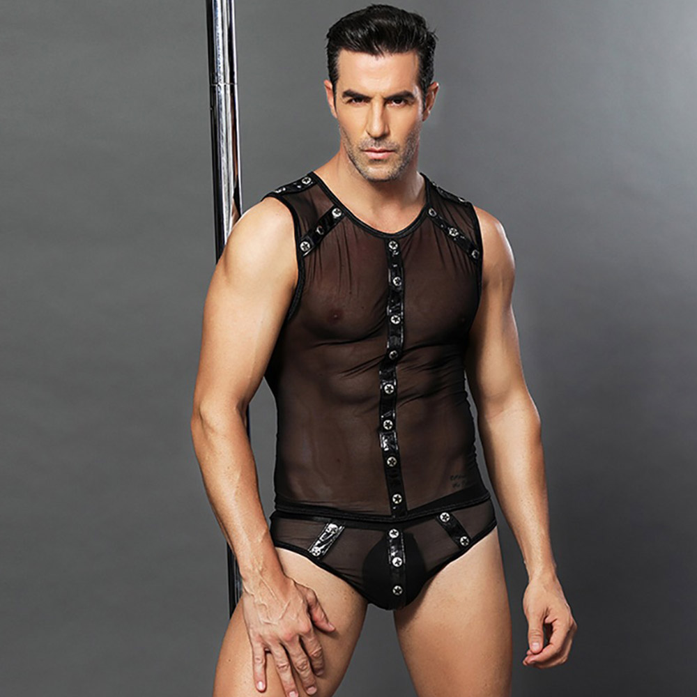 Halloween Role Play Sexy Cop Lingerie Men Leather And Mesh Police Costume Med