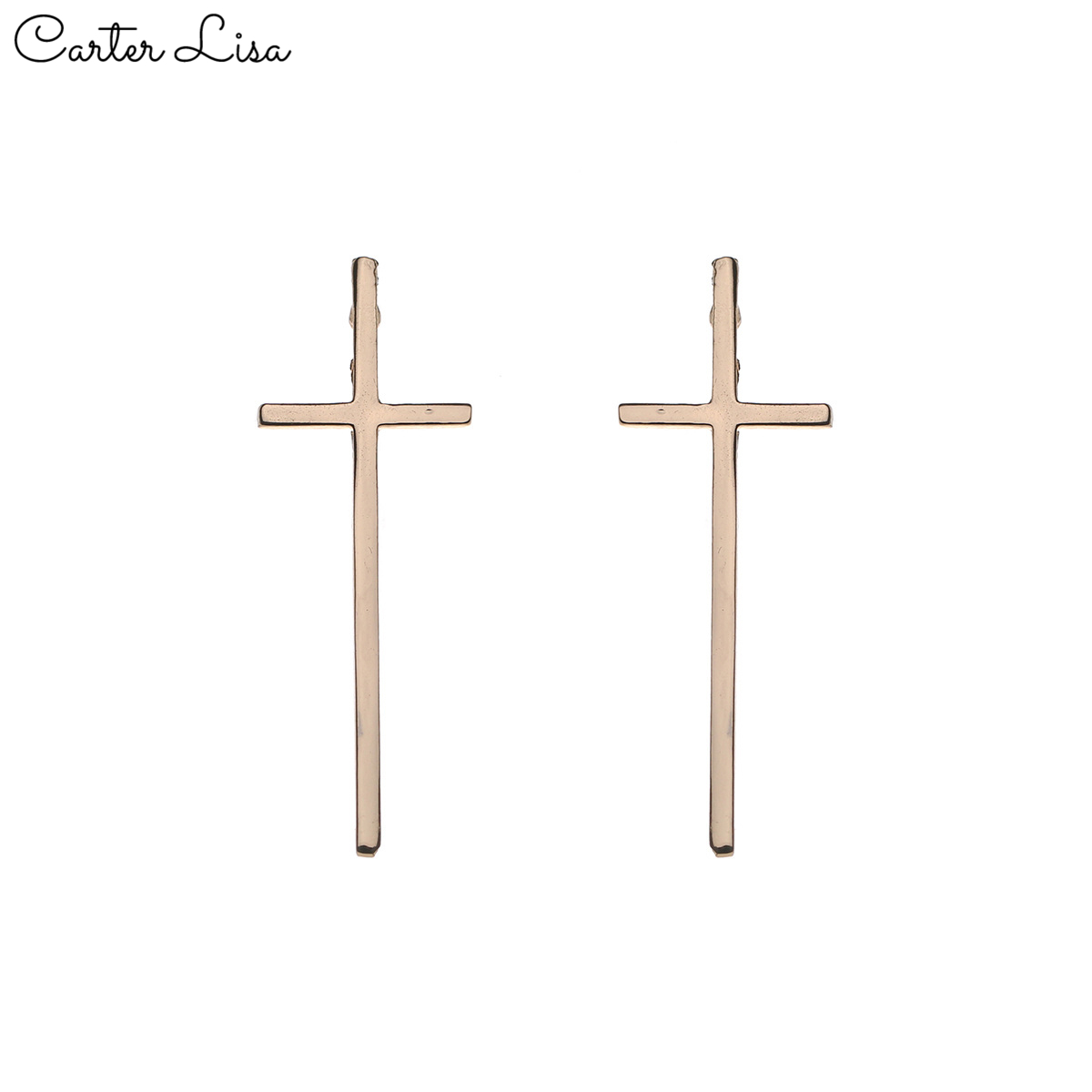 CARTER LISA Vintage Simple Women Stud Earrings Cross Shape Vintage Silver Gold Color For Women Crosses Earring Jewelry SEEA-006