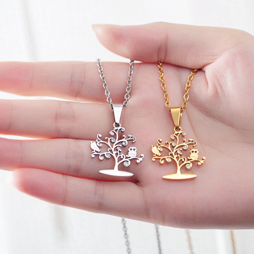 Fashion Trees Of Life Necklaces For Women Pendants Cubic Zirconia Rose Gold Color Stainless Steel Female Jewelry Gift GX1393