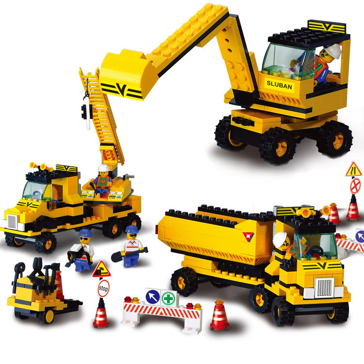 Models building toy 9700 heavy engineering excavator forklift crane Construction 474Pcs Building Blocks